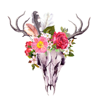 Deer animal skull with flowers and feathers. Watercolor in vintage style Stock Photo