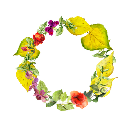 colorful flowers: Bright autumn wreath. Flowers and yellow leaves. Floral watercolor border