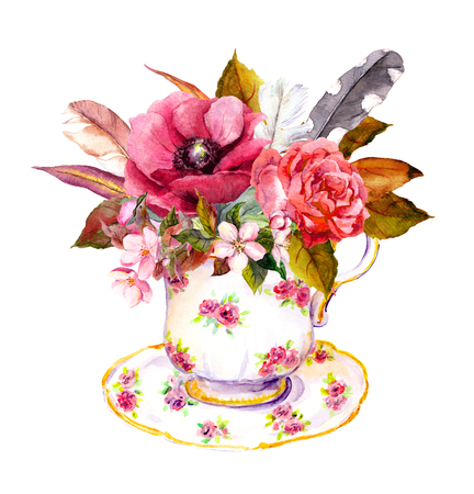 teaparty: Boho chic tea cup design with rose flowers and vintage feathers. Watercolor for tea time