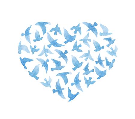 Corazón con pájaros de la vendimia para el día de San Valentín. acuarela linda
