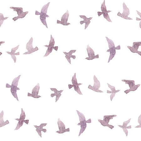 naive: Cute repeating pattern with naive watercolor birds Stock Photo