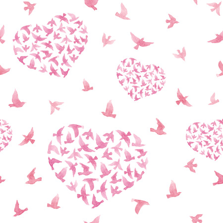 repeated: Pastel pink hearts with flying birds. Girly repeated pattern. Watercolor