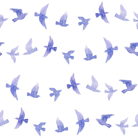 Cute repeating pattern with naive watercolor birds 写真素材