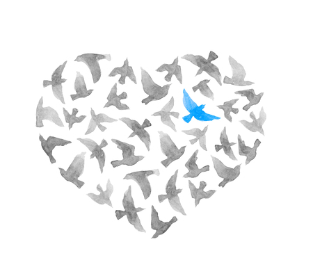 lonliness: Heart with grey and lonly blue bird. Vintage watercolor Stock Photo