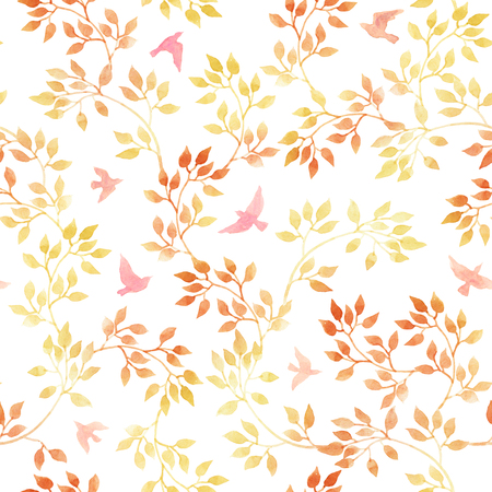 naive: Autumn leaves and birds. Watercolor naive autumn seamless pattern