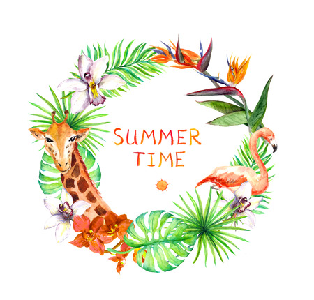 animals frame: Tropical leaves, exotic flamingo birds, orchid flowers, giraffe. Wreath frame watercolor