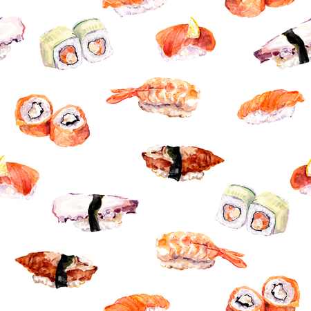 china watercolor paint: Sushi and roll repeat seamless food pattern. Watercolor