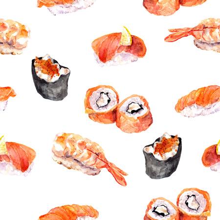 Sushi, roll gunkan - seamless pattern Watercolor sea food