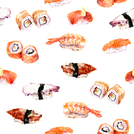 china watercolor paint: Sushi and roll - seamless pattern. Watercolor food Stock Photo
