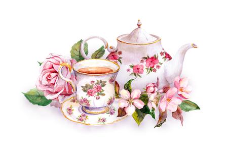 Teacup et pot de thé avec des fleurs roses - rose et fleur de cerisier. Aquarelle