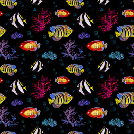 bannerfish: Glowing exotic fishes, sea corals. Seamless sea pattern with neon light. Watercolor
