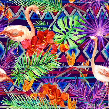 birds of paradise: Tribal pattern, tropical leaves and flamingo birds. Exotic orchids and bird of paradise flowers. Seamless ethnic pattern. Watercolor