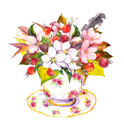 teaparty: Tea cup design with autumn leaves, berries, flowers and vintage feathers. Watercolor for tea time in vintage style Stock Photo