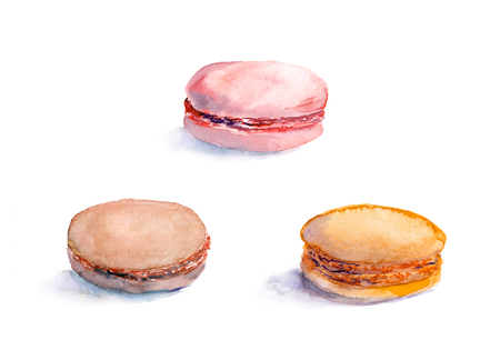 france painted: Set of macaroon cakes. Watercolour food illustration Stock Photo