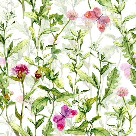 Spring meadow: grass, herb and flowers with butterflies. Watercolor repeating pattern
