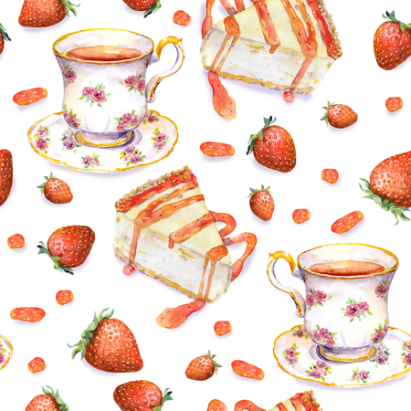 teaparty: Hand painted seamless background with cheese cake, tea cup and strawberries. Watercolor