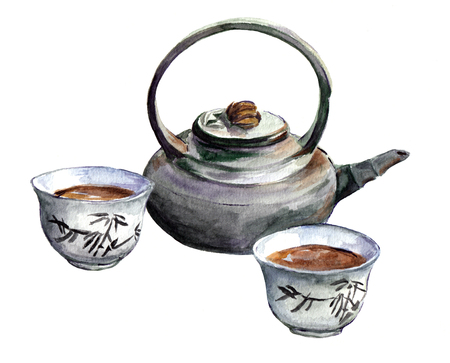 chinese tea pot: Traditional china tea set for Chinese tea - cups, teapot. Watercolor Stock Photo