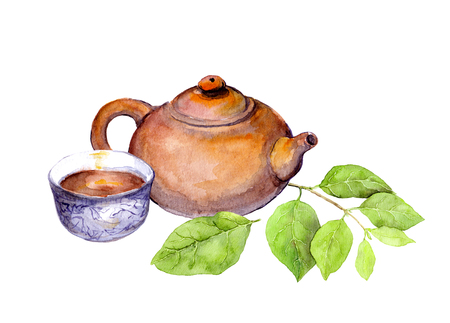 teaparty: Tea concept: japanese vintage teapot, tea cup and green leaves. Watercolor Stock Photo
