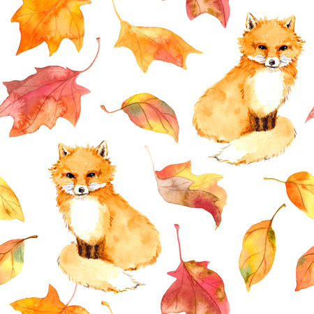 Autumn pattern - cute fox animal and autumn leaves. Seamless watercolor