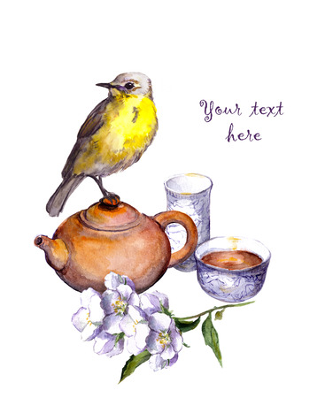 Vintage watercolor card with traditional tea set, flowers and bird