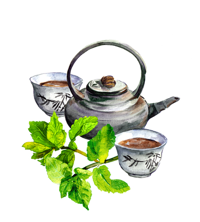 Healthy mint tea set with teapot and traditional chinese cups. Watercolor