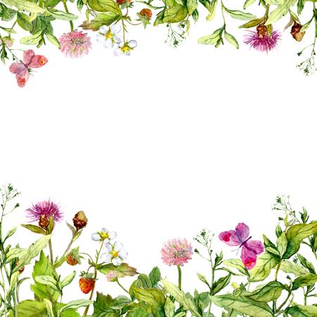 Spring, summer garden: flowers, grass herbs, butterflies Floral pattern - vintage watercolor