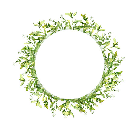 Wreath border frame with spring herbs. Watercolor