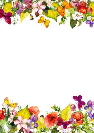 Giardino di autunno - giallo foglie, fiori, erba, erbe e farfalle. Floral seamless, acquarello