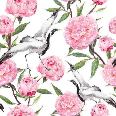 color design: Crane birds dance in pink peony flowers. Floral repeating asian pattern. Watercolor