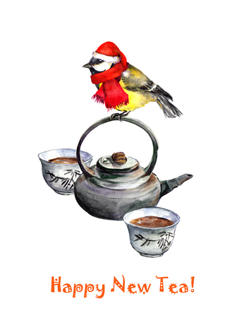 chinese tea pot: New year greeting card with holiday bird tit on chinese tea pot. Watercolor Stock Photo