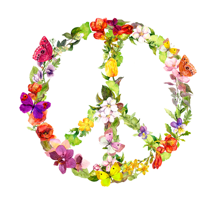 woodstock: Floral peace sign with flowers for Peace Day. Watercolor