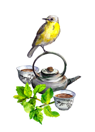 Mint tea, teapot, cups and cute bird - watercolor