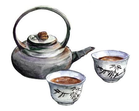 Japanese tea. Set of traditional east teapot and cups. Watercolor Фото со стока