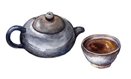 전통적인 중국 차 세트 - 냄비와 컵. 수채화