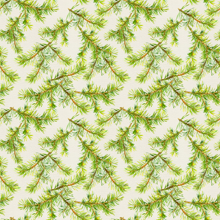 naturalistic: New year seamless pattern with naturalistic green branches of christmas tree Stock Photo