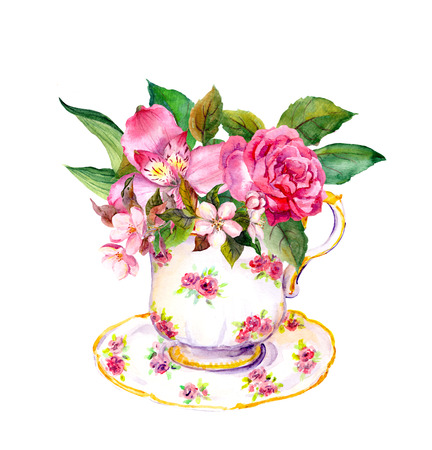 Vintage teacup with rose and pink flowers. Tea party watercolor
