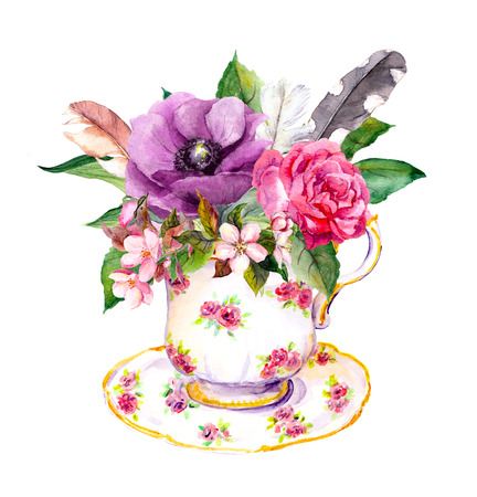 teaparty: Boho chic tea cup design with rose flowers and vintage feathers. Hippy watercolor for tea time
