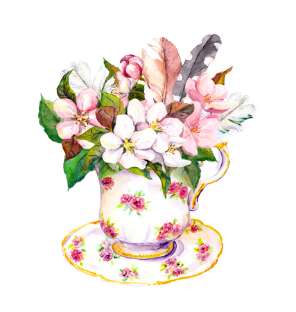 teaparty: Pink blossom flowers in tea cup and vintage feathers. Elegant watercolor for tea time