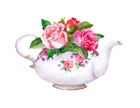 Theepot met roze roos bloemen. Waterverf Stockfoto