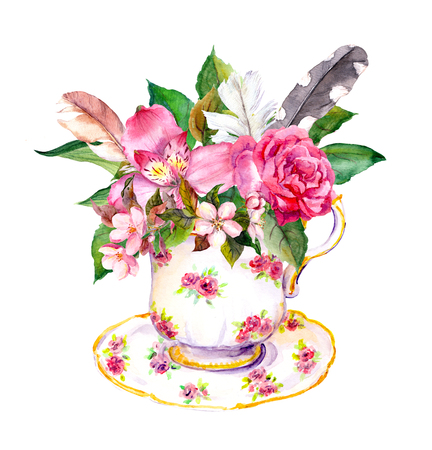 teaparty: Boho style tea cup with rose flowers and feathers. Watercolor in hippie style