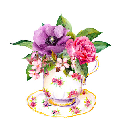 teaparty: Tea cup with rose flowers. Watercolor for tea time