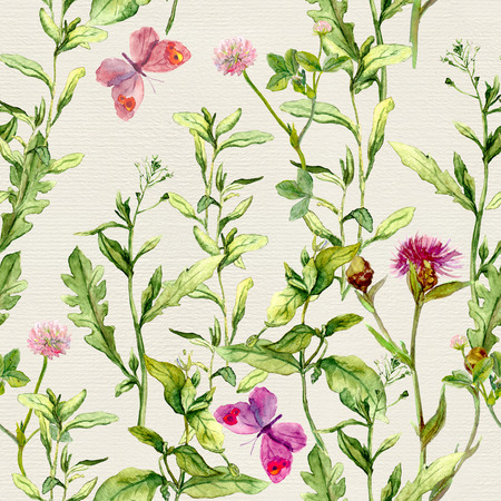 repeated: Herbs, flowers, butterflies, meadow grass. Vintage repeated floral pattern Retro watercolour