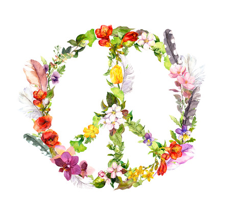 water animal bird card  poster: Peace sign with flowers and feathers in boho style. Watercolor