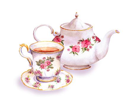 ティーカップと紅茶ポットの花のデザイン。水彩