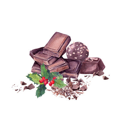 chocolaty: Chocolate block, chocolate candy and mistletoe. Christmas sweet watercolor