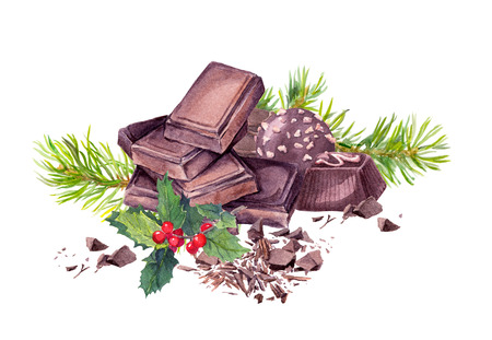 chocolaty: Chocolate block, chocolate candy, christmas tree branches and mistletoe. Christmas sweet watercolor