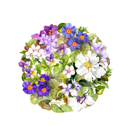 primula: Spring or summer circle pattern with meadow flowers and butterflies. Water color