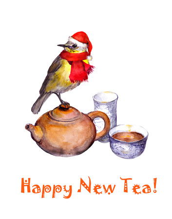 songbird: Christmas greeting postcard with songbird in red hat on tea pot. Watercolor Stock Photo