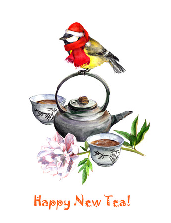 chickadee: Bird tit in holiday hat sitting on tea pot with flower - new year greeting card. Watercolor Stock Photo
