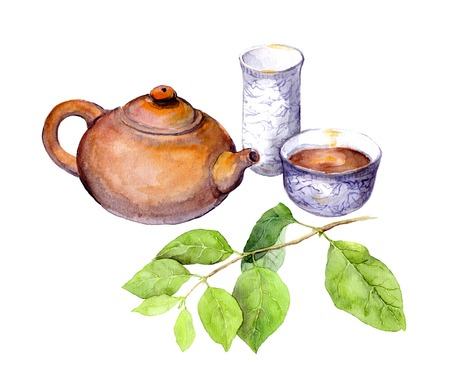 Tea party concept: chinese tea pot, tea cup and green leaves. Watercolor